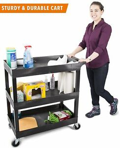 Shelf Utility Cart Cleaning Garage Office Hospitals Schools Warehouse Heavy Duty