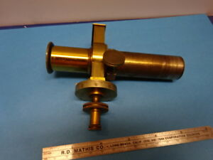 Antique Rare Brass Filar Micrometer Eyepiece Ocular Microscope Part As Is 90 10