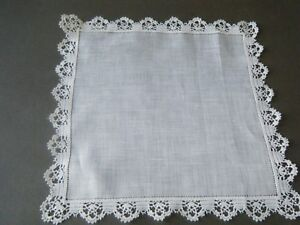 Antique Handkerchief Hanky Bridal Linen Hand Done Clluny Lace Heming Brussels