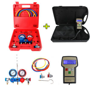 Portable Ac Manifold Gauge Set R134a Hvac W Digital Refrigerant Charging Scale