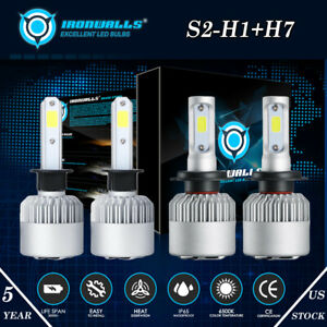Ironwalls H1 H7 Combo Total 4000w 600000lm Led Headlight Bulb Kit High Low Beam