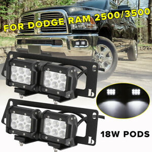 For Dodge Ram 2500 3500 4 18w Led Work Fog Light Hidden Bumper Mount Bracket