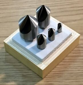 New 5 Piece High Speed Countersink Set 82 Degree 1 4 1 Single Flute Wood Box