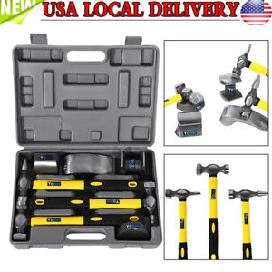 7 Pcs Auto Body Fiberglass Fender Repair Tool Hammer Dolly Dent Bender Auto Kit
