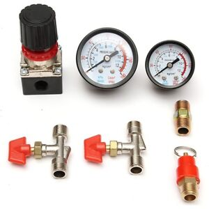 30 120psi Air Compressor Pressure Valve Switch Manifold Relief Regulator Gauges