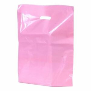 500 Pcs Pink Plastic Die Cut Gift Bags With Handles 9 x12 1 25 Mil Thinnest
