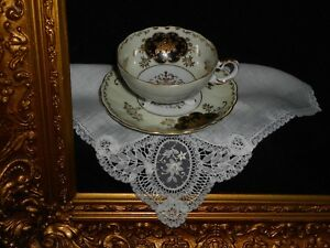Royal Sealy China Footed Tea Cup Saucer Black Gold On White Vtg Handkerchief