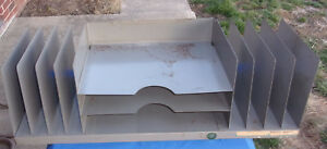 Vtg Industrial Desk File Tray Stack Gray Metal 11 Tier Steampunk
