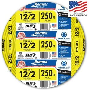 250 ft Roll Electrical Copper Wire 12 2 Awg Nm b Gauge Indoor Ground Romex Cable
