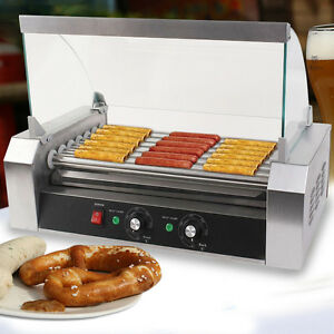 New Commercial 18 Hot Dog Hotdog 7 Roller Grill Cooker Machine W cover Stainless