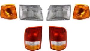 New Headlights Tail Lights And Signal Lamps Fits The Ford Ranger 1993 1997 Set 6