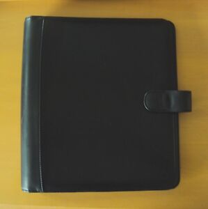 Franklin Covey Black Genuine Leather Planner Binder Organizer Large