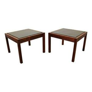 Pair Of Mid Century Danish Modern Milo Baughman Founders Walnut Slate End Tables