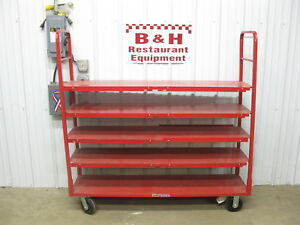 Red 5 Shelf Heavy Duty Warehouse Grocery Stock Cart Rack Table