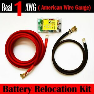 Battery Relocation Kit Real 4 Awg Cable Top Post 20 Ft Red 5 Ft Black