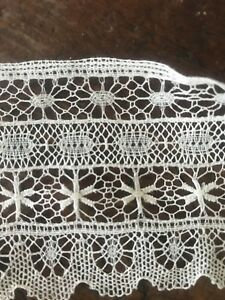 Antique French Spider Lace Trim Ornate 1900 S Floral Net 3 Yards