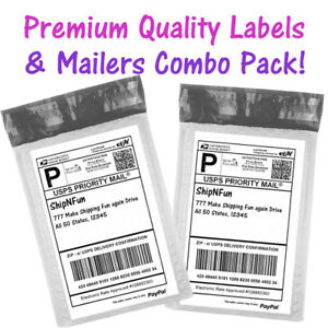 6x10 Bubble Mailers White Half Sheet Shipping Labels Padded Envelopes 6x9 Poly