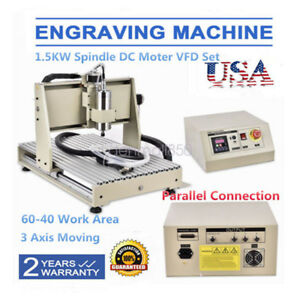 6040 3 Axis 1500w Cnc Router Engraver Engraving Milling Machine B screw Mach3 Us