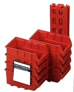 8 Stackable Plastic Small Parts Bin Storage Organizer Racking W Mounting Rails