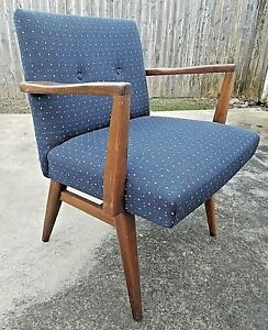 Vintage Mid Century Modern Wood Armchair Blue Fabric Atomic Cube Pattern