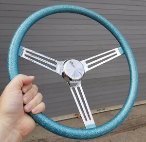 Vtg Style 15 Blue Metalflake Steering Wheel Hot Rod Custom Lowrider Rat Gasser