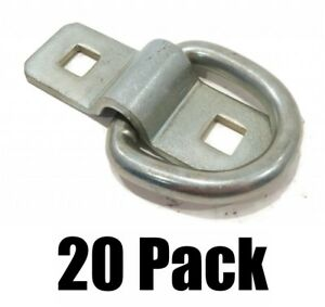 20 New 3 8 Steel D Ring Rope Tie Downs For Trailer Flatbed Truck Anchor Cargo