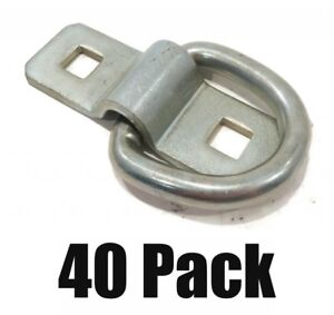 40 New 3 8 Steel D Ring Rope Tie Downs For Trailer Flatbed Truck Anchor Cargo