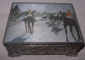 Vtg Horse Racing Silverplate Repousse Music Cigarette Trinket Box W Hinged Lid