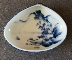 Porcelain Blue White Brush Washer Landscape Shell Shaped Dish