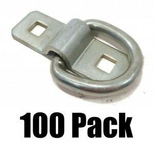 100 3 8 Steel D Rings Clips Tie Down For Trailer Truck Chain Anchor Bolt On