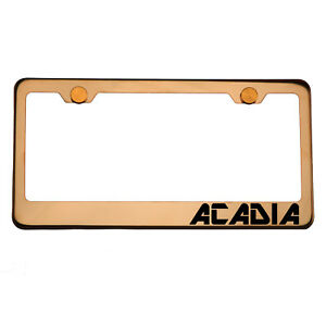 Rose Gold License Plate Frame Acadia Laser Engraved Aluminum Screw Cap