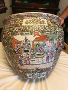 Chinese Famille Rose Porcelian Fishbowl 21 Diameter 18 High With Marking