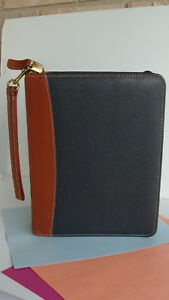 Classic 1 5 Rings Franklin Covey quest Leather Blue brown Planner Binder Zip