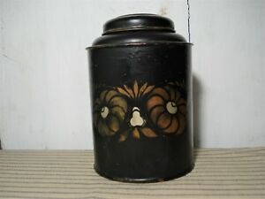 Antique Vintage Tole Painted Tea Canister Hinged Tin Toleware Primitive