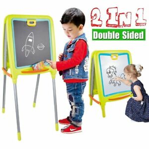 2 Side Magnetic Whiteboard chalk Blackboard Adjustable Easel Board Erasable