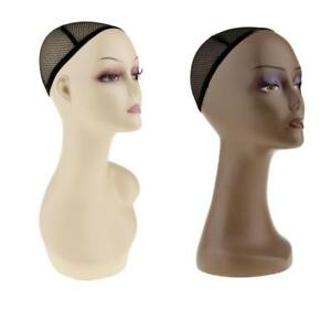 2pcs Plastic Mannequin Head Model Glasses Hat Wig Display Stand With Net Cap