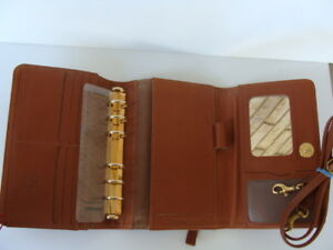 Pocket 7 8 Rings Brown Leather Tri fold Franklin Quest Planner binder Purse