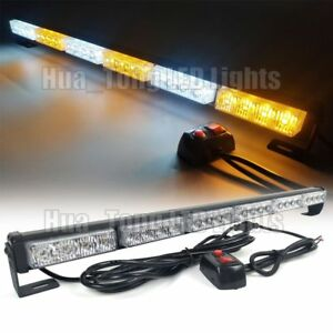 25 Led Warn Emergency Traffic Advisor Directional Strobe Light Bar Amber White