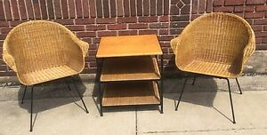 Vintage Mid Century Modern Italian 3 Piece Wicker Patio Set A