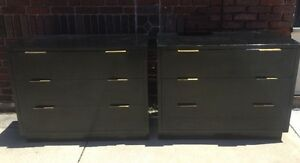 Pair Of Mid Century Modern Art Deco Black Laquered Bachelor Chests
