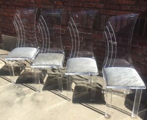Vintage Set Of 4 Mcm Hollywood Regency Quality Lucite Dining Chairs