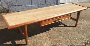 Mcm Heritage Henredon Walnut Marble Coffee Table Wormley Dunbar Danish Era