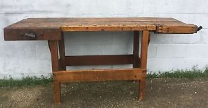 Antique Primitive Workbench Industrial Wood Table Server Bar Kitchen Island