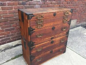 Japanese Antique Kasane Tansu Clothing Chest Dresser