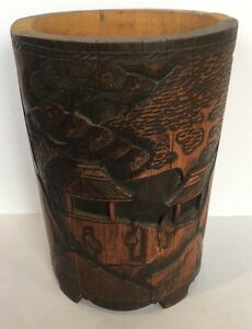 Antique 10 Chinese Hand Carved Wood Bamboo Brush Pot