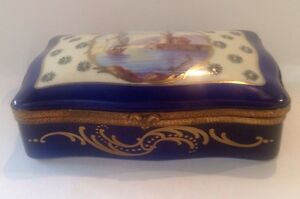 Antique Porcelain Hand Painted Artist Signed Hinged Box Made In France Nautical
