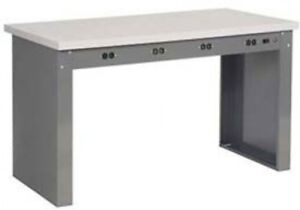 72 w X 30 d Panel Leg Workbench With Power Apron And Shop Top Square Edge Top