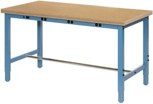 60 w X 36 d Production Workbench With Power Apron Shop Top Square Edge Blue
