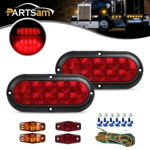 Trailer Boat Led Light Kit red Stop Turn Tail red amber Side Marker wire Harness