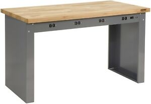 60 w X 30 d Panel Leg Workbench With Power Apron And Maple Butcher Block Square